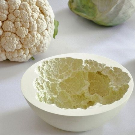 Interior of a 'Grapefruit' shaped fruit bowl.  The texture created is very clever and I like it.