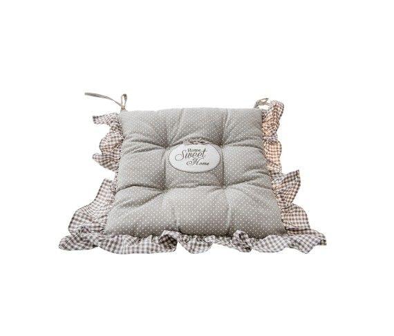 16,20 € - Cuscino con Riccetto Home Sweet Home, stile Shabby Chic, realizzato in stoffa, simpatica idea per bomboniera matrimonio, cm. 40x40.
