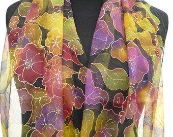 Pintado a mano bufanda de la gasa floral de pura seda negro morado verde oro puro verano joya seda bufanda multicoloras flores para vestido de noche