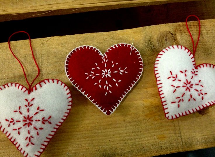 hand-made felt hearts for Christmas
