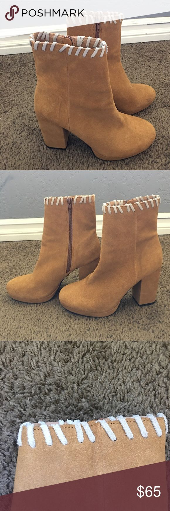 Urban outfitter tan boots/booties Worn once size 8 tan urban outfitter boots Urban Outfitters Shoes Ankle Boots & Booties