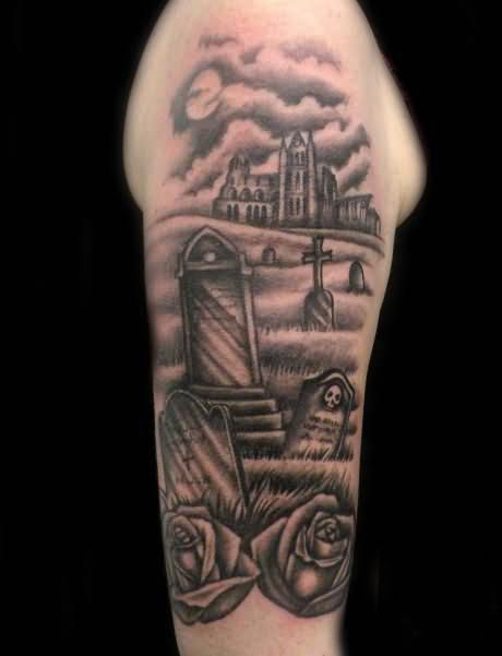Graveyard Tattoo Design On The Arm | Tattoobite.com