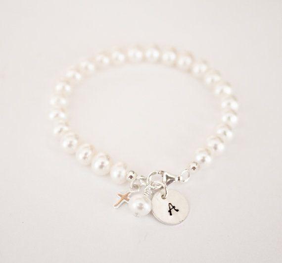 hand stamped baby charm bracelet, Initial bracelet, freshwater pearl bracelet, newborn bracelet, christening gift, baby girl, gift, twins via Etsy