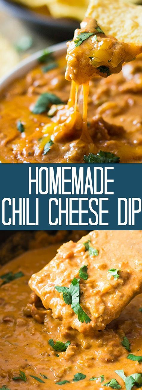 This Homemade Chili Cheese Dip contains no processed cheese and no canned chili, just simple homemade goodness right in the slow cooker!