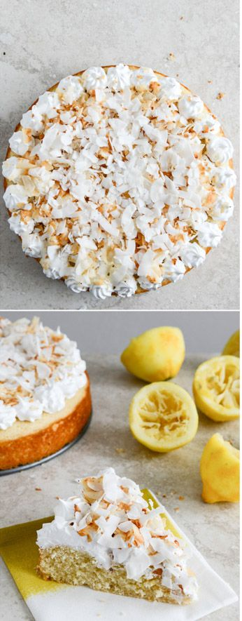 The EASIEST lemon cake with marshmallow frosting. I howsweeteats.com