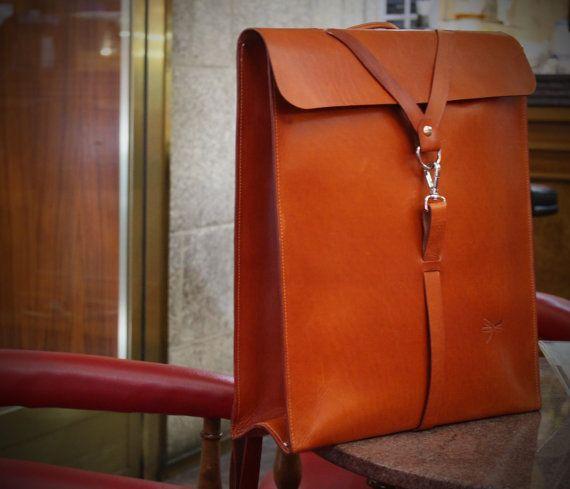 Tan Leather. Desing Ludena men bag. Leather backpack for men, leather school bag, Computer backpack, folders, ect.