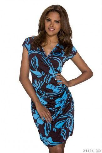 Σταυρωτό φλοράλ φόρεμα με δαντέλα - Σκούρο Καφέ Μπλε
