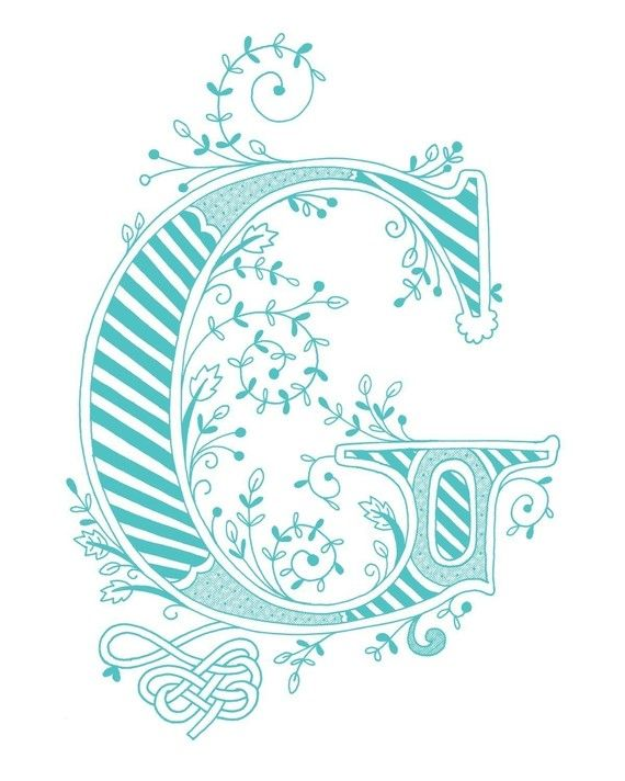 Hand drawn monogrammed print, 8x10, the Letter G, in the color blue