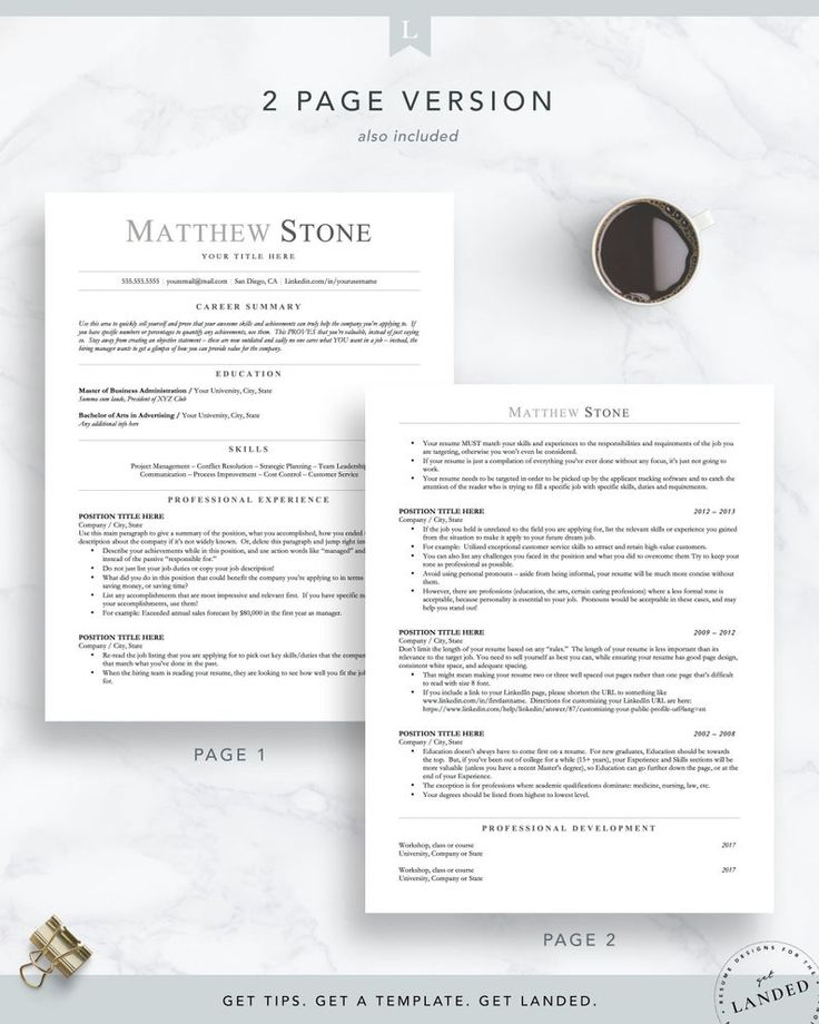 ATS Friendly Resume Template Minimalist Resume Template