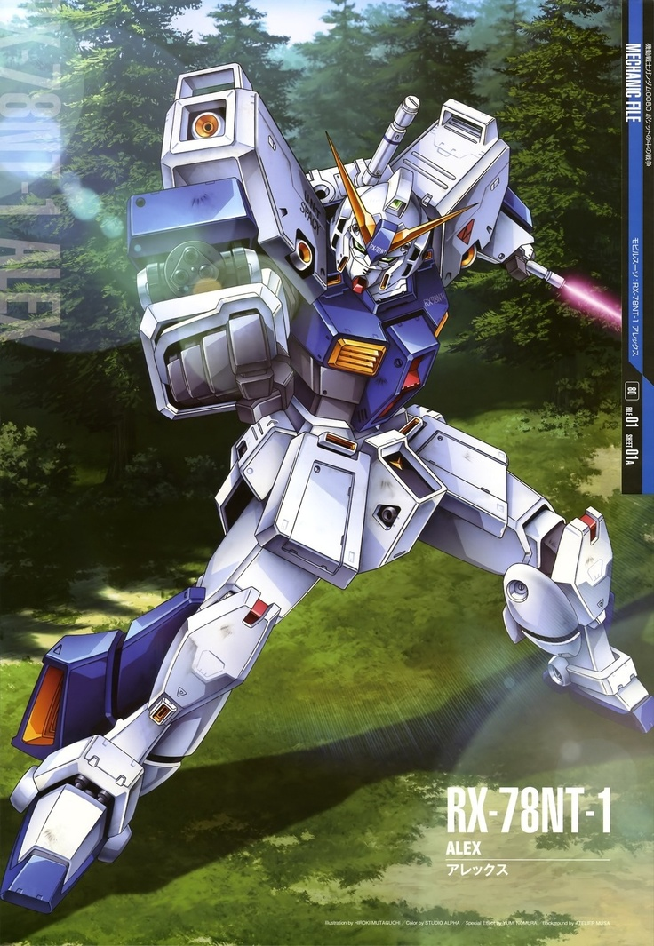 """The RX-78NT-1 Gundam """"Alex"""" is a prototype newtype-use mobile suit and is a next generation Gundam built specifically for Newtypes. The unit is piloted by test pilot Christina Mackenzie, it is featured in the OVA series Mobile Suit Gundam 0080: War in the Pocket."""