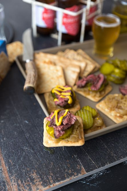 Skirt Steak Crackers with Beer Caramelized Onions - The Backyard Cook