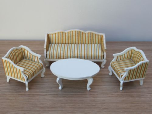 Lundby Gold stripe Lounge sofa set with by VintageLundbyLove, £24.99