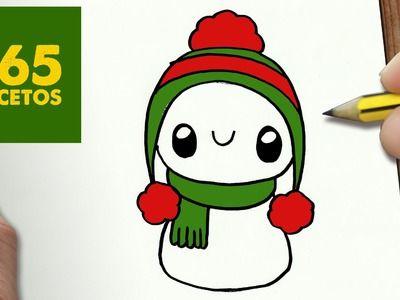 COMO DIBUJAR UN MUÑECO DE NIEVE PARA NAVIDAD PASO A PASO: Dibujos kawaii navideños - draw a snowman