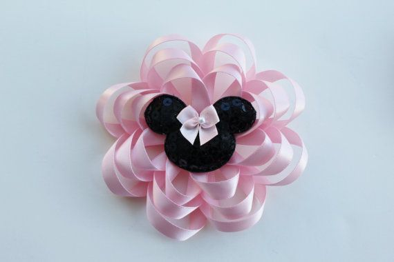 Light Pink Hair Bow - Light Pink Hair Clip - Minnie Mouse Hairbow - Flower Hair Bow - Light Pink Bow Photo Prop Hair Accessory for Girls