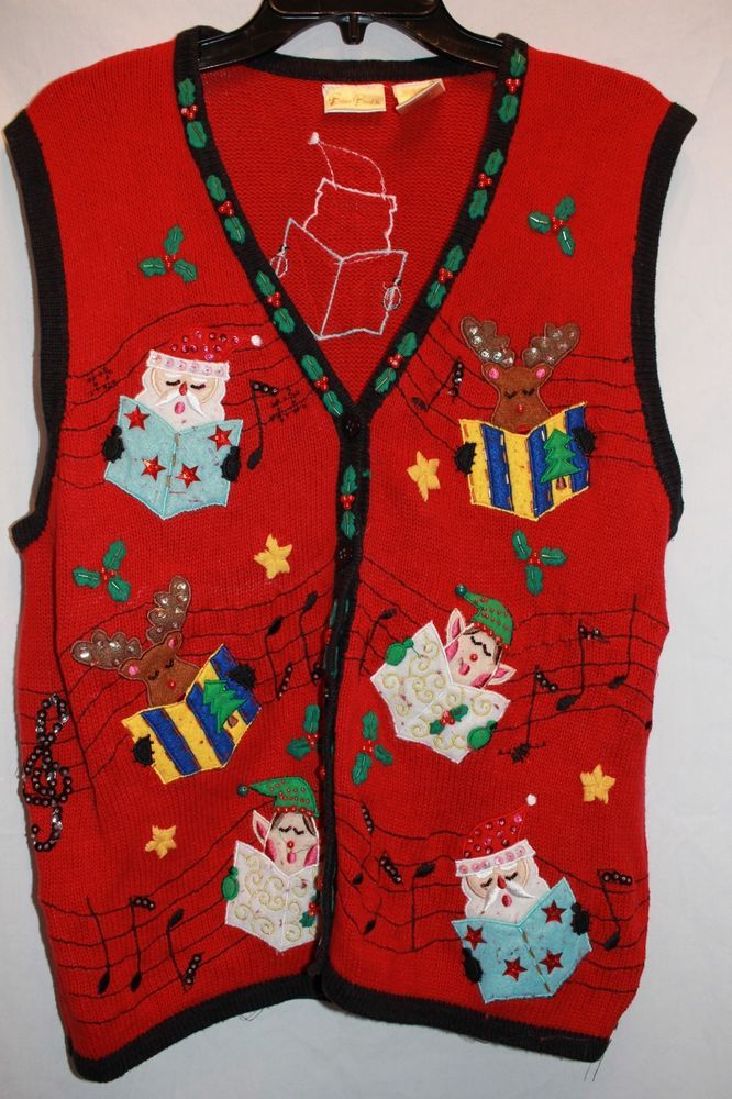 7511d8c6a90 Bobby Brooks Vintage Ugly Christmas Sweater Vest Red Black Choir Carolers   fashion  clothing
