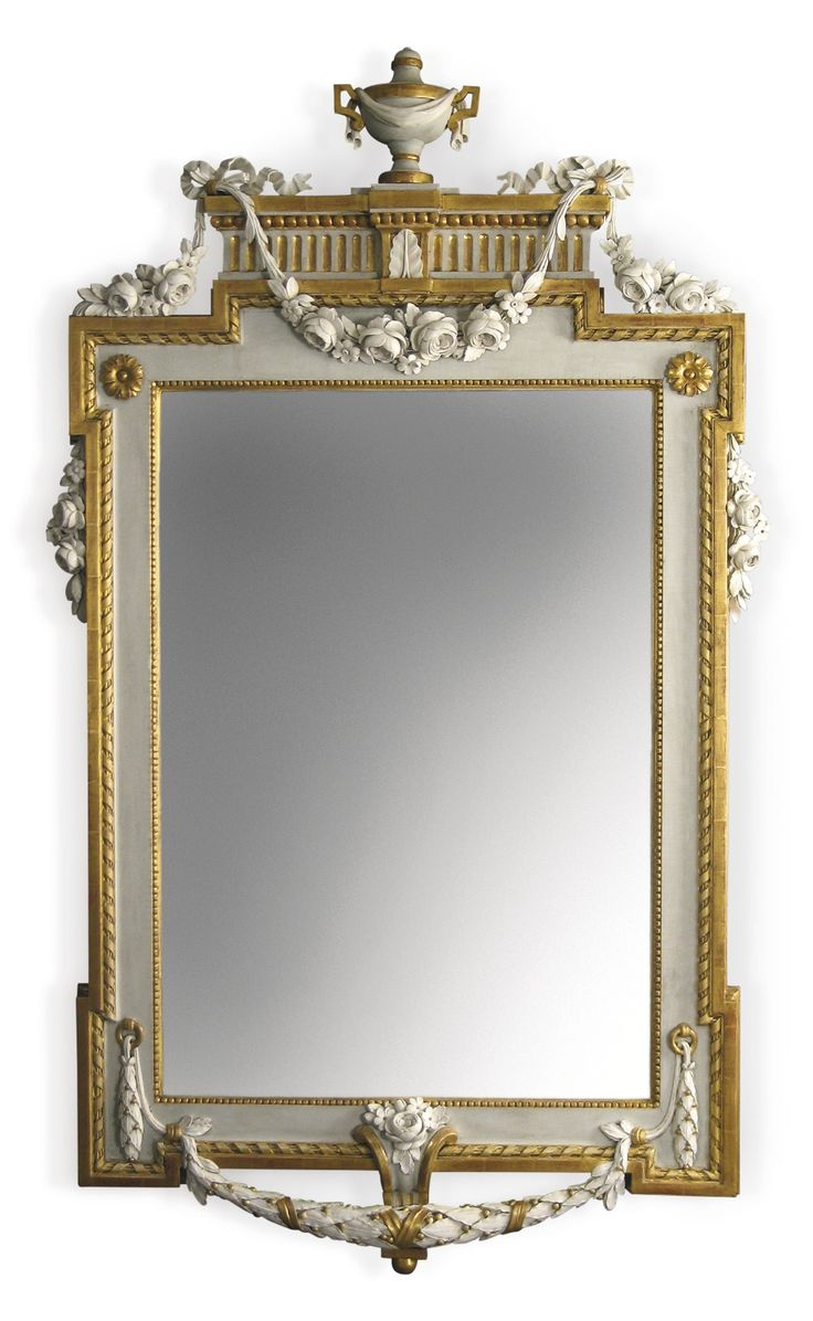 Antiqued mirror wall mirrors and mediterranean style mirrors - A Gustav Iii Swedish Neoclassical Carved Parcel Gilt And Gray Painted Mirror In Painted Mirrorsantique Mirrorswall