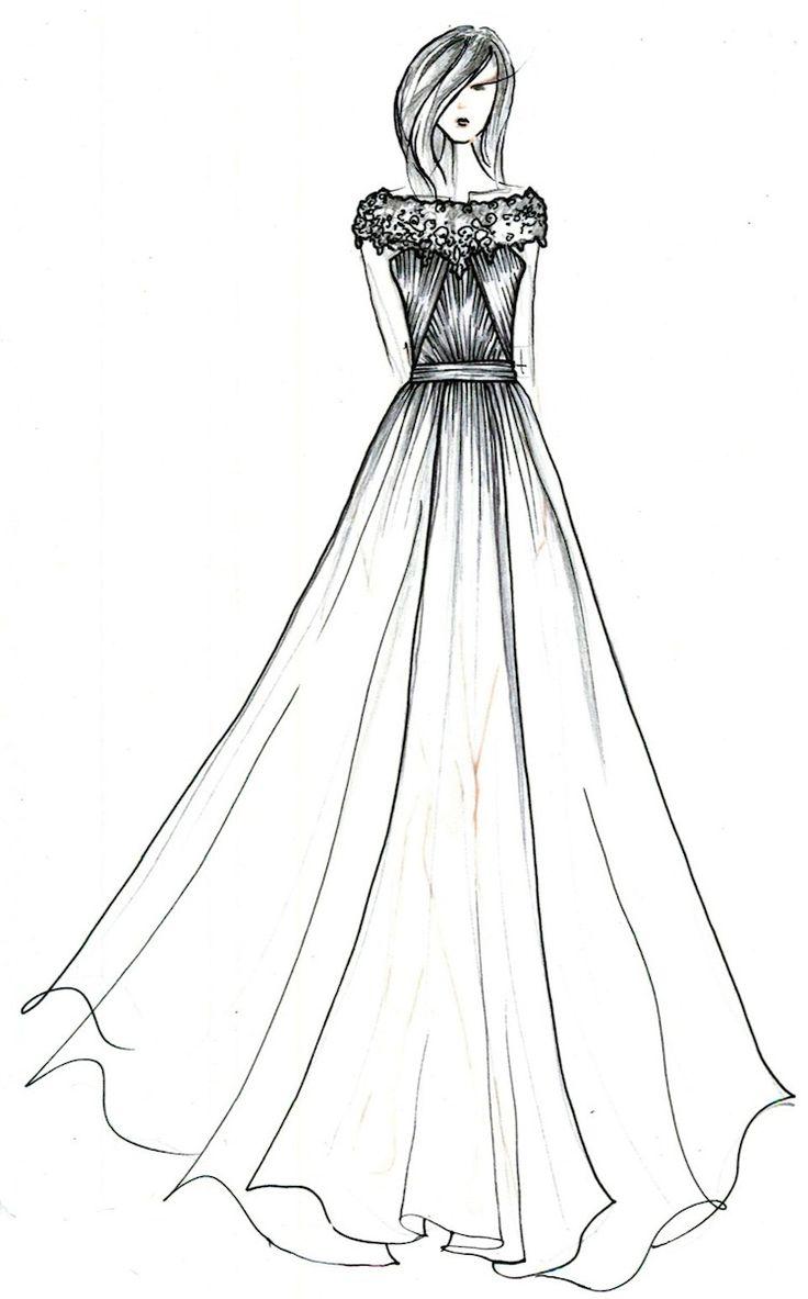 how to draw a wedding dress sketch step by step