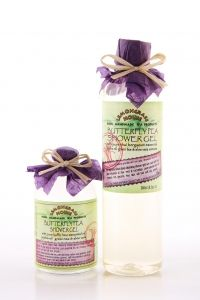 SHOWER GEL BUTTERFLY PEA  Jojoba oil, green tea & aloe vera INFO: Our vegetable based deep cleansing shower gels are made with fresh plant infusions of aloe vera & cucumber, pure essential oils, and moisture rich glycerin. Your skin will feel soft and smooth. Ingredients: lavender hydrosol, aloe vera, green tea extract, sodium cocoyl glutamate, disodium cocoamphodiacetate, cocamidopropyl betaine, jojoba oil, cucumber extract, sea kelp extract, glycerin, citric acid, grapefruit seed extract.