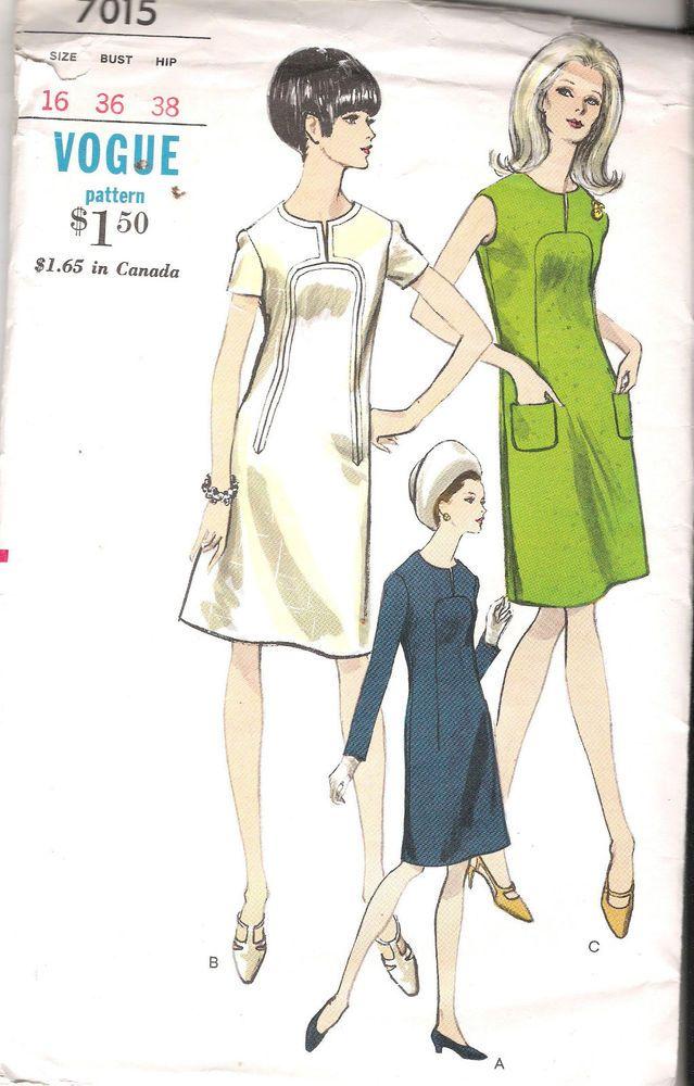 "VINTAGE SHEATH DRESS 1960s SEWING PATTERN 7015 VOGUE SIZE 16 BUST 36 HIP 38"" CUT"