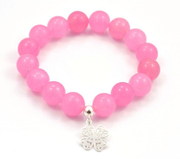 Bransoletka z różowego kwarcu z koniczynką <3 #bransoletki #bransoletka