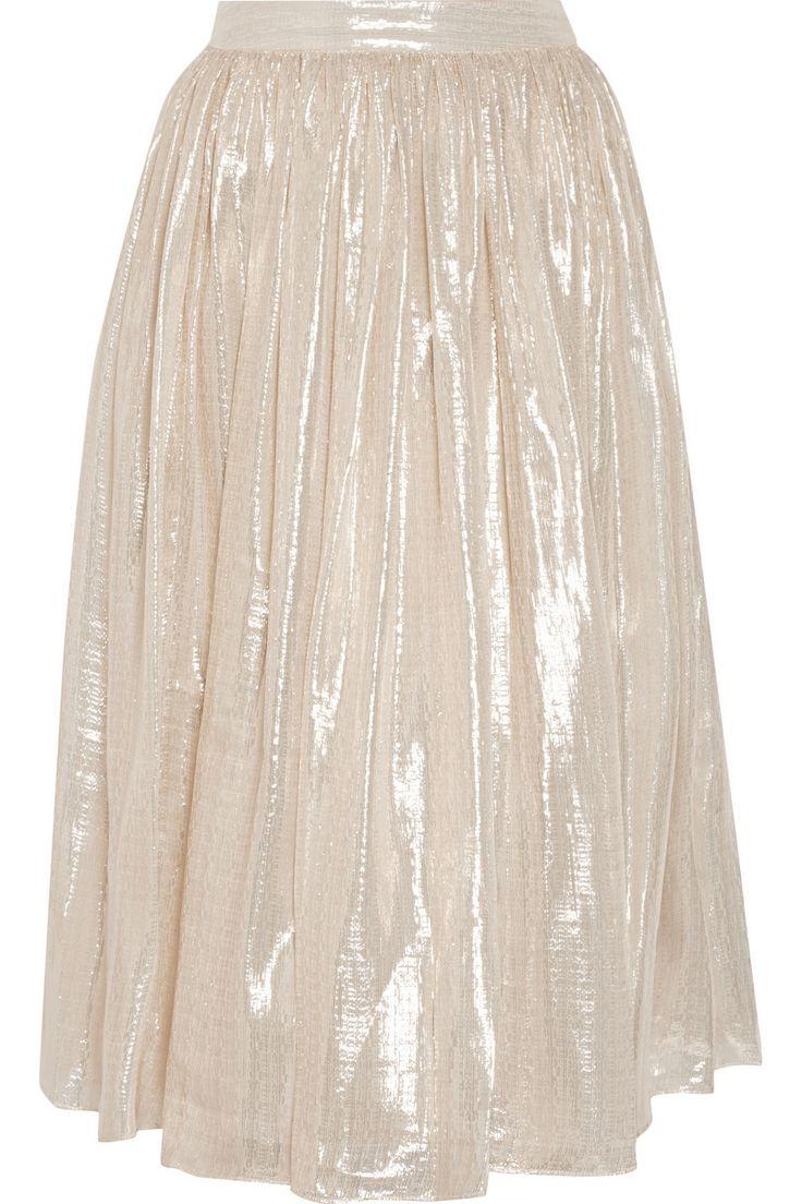 Alice + Olivia|Evita pleated metallic silk-blend skirt|NET-A-PORTER.COM