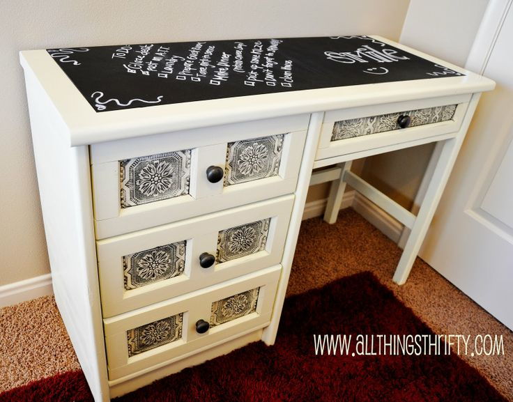 All Things Thrifty Home Accessories and Decor: Refinishing Furniture is EASY!...love everything about this-chalkboard paint on top, paintable wallpaper on the drawer fronts that was glazed. The drawers have snazzy houndstooth fabric inside. Gotta paint my old childhood furniture!