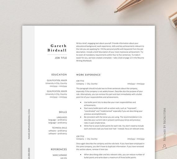 Minimalist Clean And Simple Resume Template Professional Cv Template Instant Download Cv Design Fo In 2020 Cv Template Simple Resume Resume Template Professional