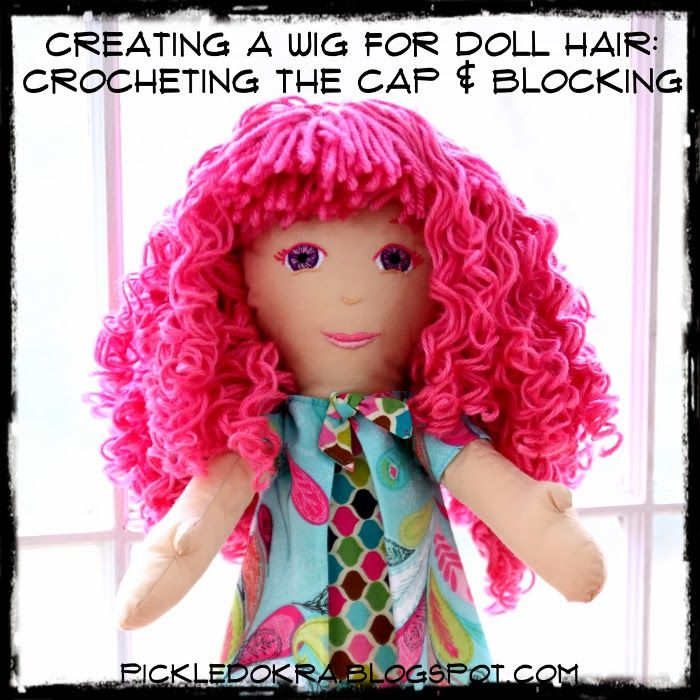 Amigurumi Curly Hair Tutorial : Making Lilas Hair: Crocheting a Cap and Making a Wig ...