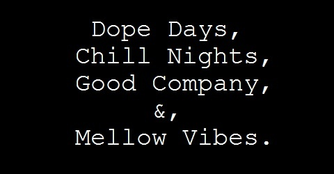 dope days, chill nights, good company &, mellow vibes