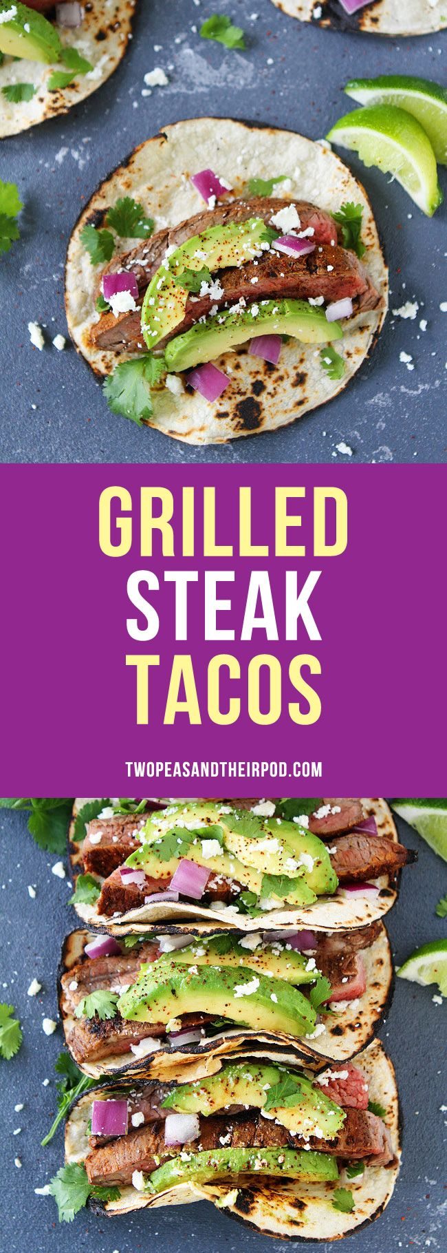 Grilled Steak Tacos with avocado, cilantro, red onion, and queso fresco! These easy tacos make a great summer meal!
