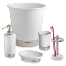 York Matte White Bath Ensemble from Bed, Bath & Beyond: toothbrush holder and soap dish in half-bath, tissue box (not shown) in both baths. Love! Classy and elegant.