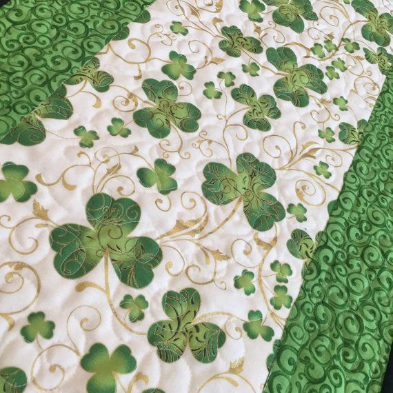 St Patricks Shamrock Green Quilted Table Runner by countrysewing4U