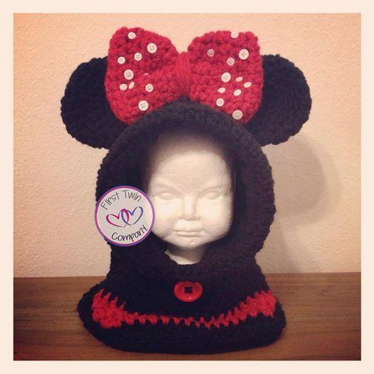 Miss Mouse Hooded Cowl crochet pattern, kids hooded cowl, hooded cowl pattern…