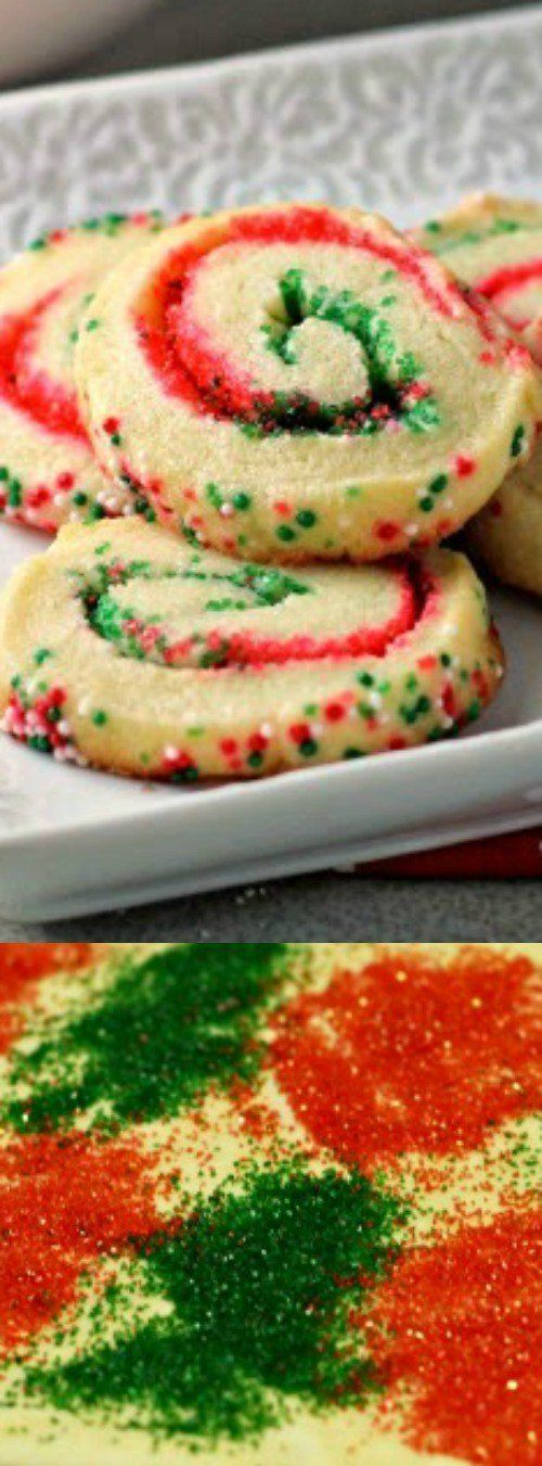 Delight your family and friends this holiday season with these funSanta's Swirl Sugar CookiesfromRenee's Kitchen Adventures. Easy slice and bake cookies are transformed into festive treats with sprinkles!