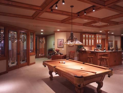 Traditional Basement with beautiful glass designs on doors and cabinets #designmine