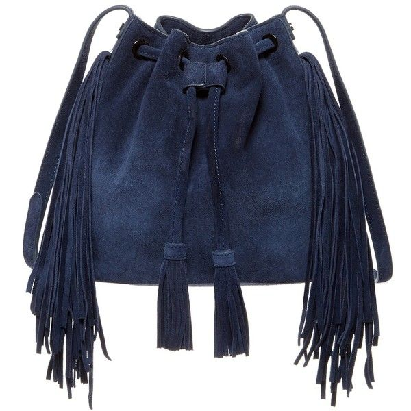 BCBGMAXAZRIA Faye Suede Drawstring Crossbody ($160) ❤ liked on Polyvore featuring bags, handbags, shoulder bags, navy, fringe purse, crossbody shoulder bags, navy blue shoulder bag, crossbody handbags and shoulder strap bag