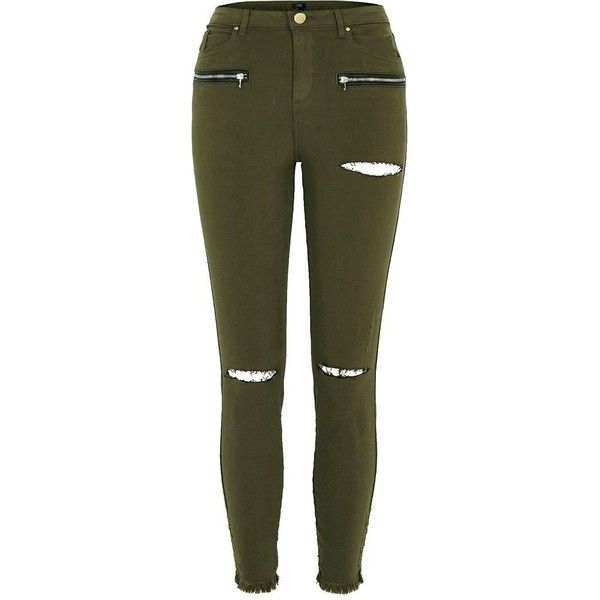 River Island Khaki green ripped knee skinny fit pants (135 BAM) ❤ liked on Polyvore featuring pants, khaki, skinny pants, women, river island, tall pants, khaki pants and brown skinny pants