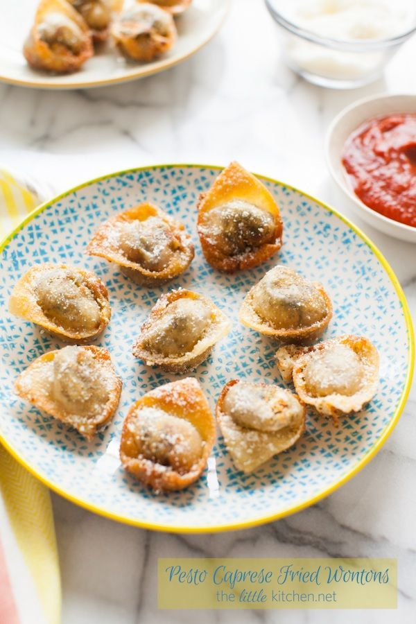 Pesto Caprese Fried Wontons [includes video on how to fold these wontons!]