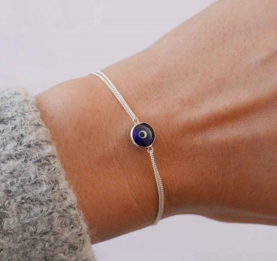 Nazar Bracelet Gift for Her Bridesmaid Gift Luck Charm Bracelet Sterling Silver Evil Eye Bracelet with Crystals