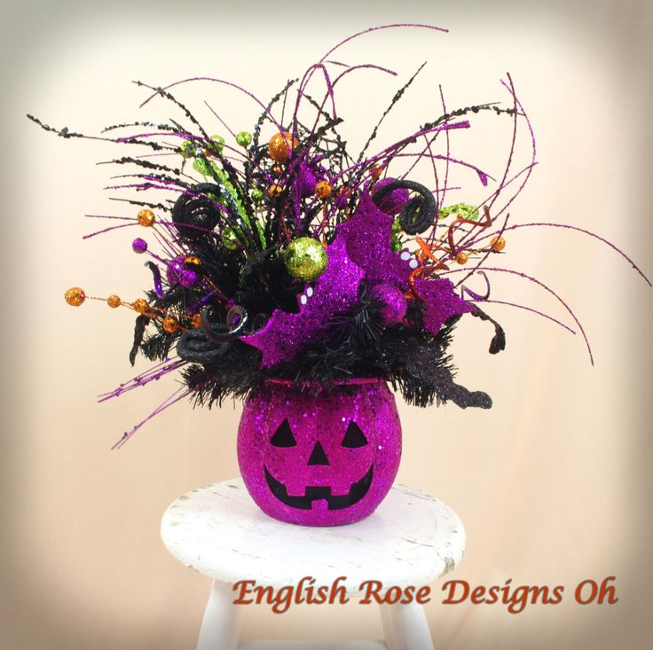halloween decor halloween floral arrangement jack o lantern hot pink and black arrangement - Halloween Centerpieces
