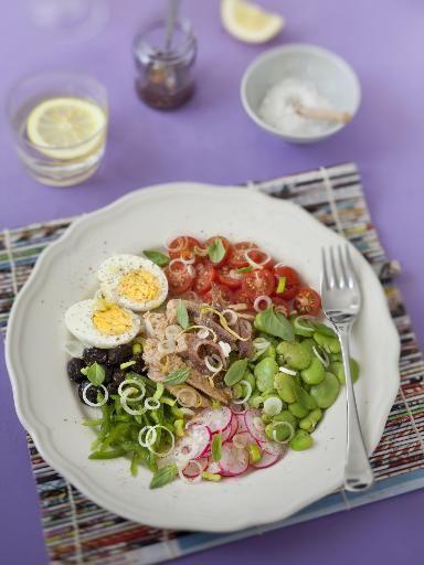 févette, poivre, vinaigre de vin, oeuf, radis, tomate, anchois, cébette, huile d'olive, sel, olive noire, poivron, thon, basilic
