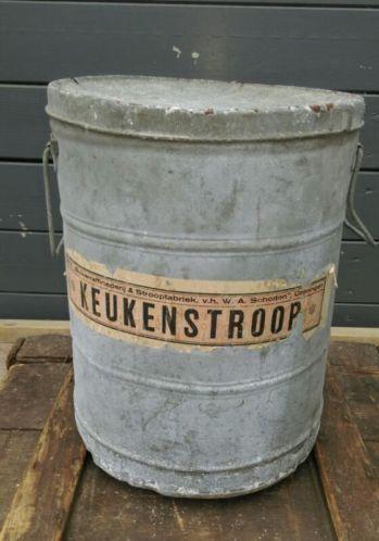 Oude Brocante Keukenstroop Ton Zink Scholton Suikerfabriek