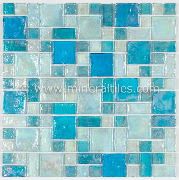 iridescent glass mosaic tile pale blue random blend