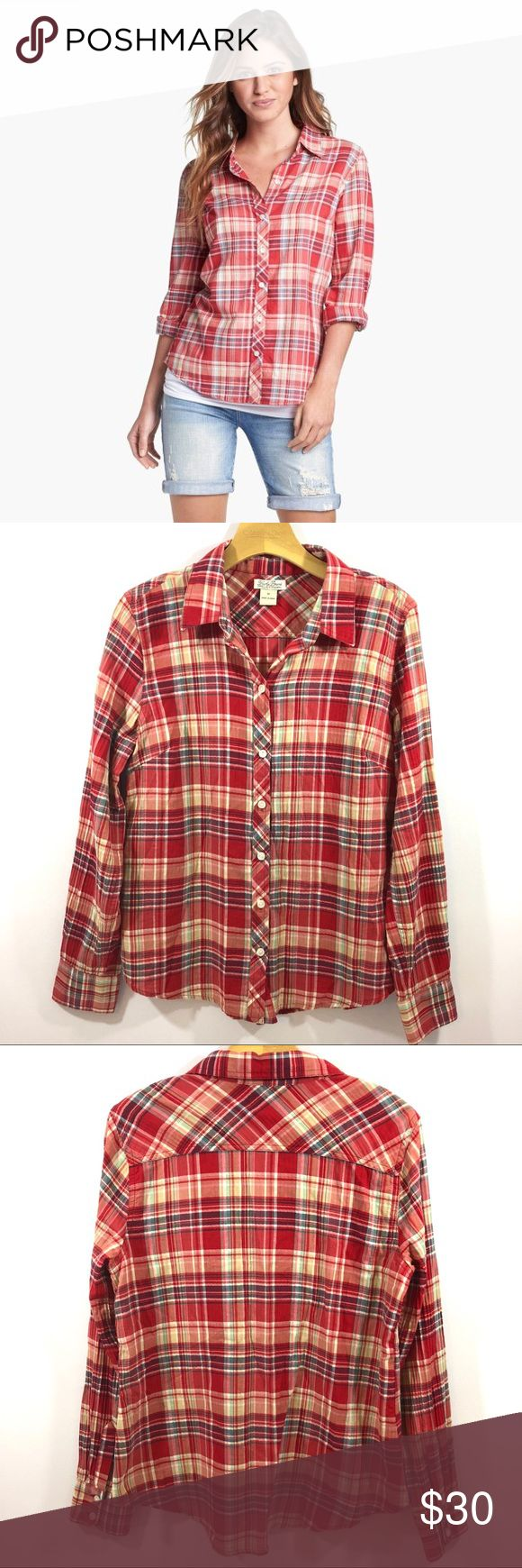 Lucky Brand Red Plaid Shirt Lucky Brand Red Plaid Shirt Size Medium  Measurements in photos. Care tag cut out. Lucky Brand Tops Button Down Shirts