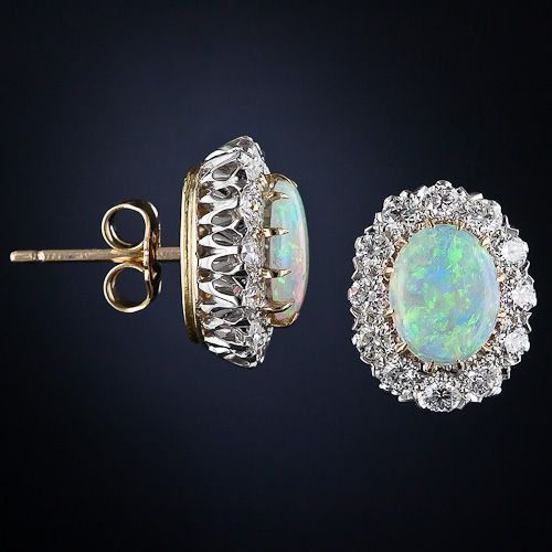 Vintage Style 18k Opal and Diamond Cluster Earrings - 20-1-5082 - Lang Antiques