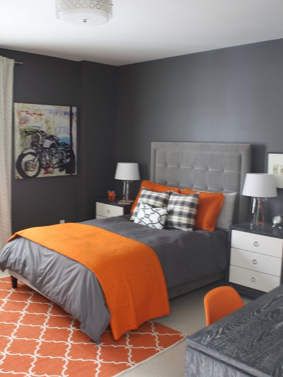 Astonishing Contemporary Bedroom In Grey Wall Painting Completed With Grey Bed With Accent Orange Duvet And Pillows For Dramatic Touches