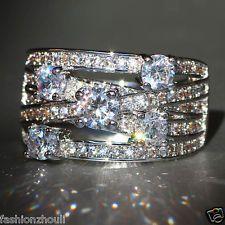 Модный белый сапфир 925 серебро заполненный свадебное обручальное кольцо невесты размер 6-10