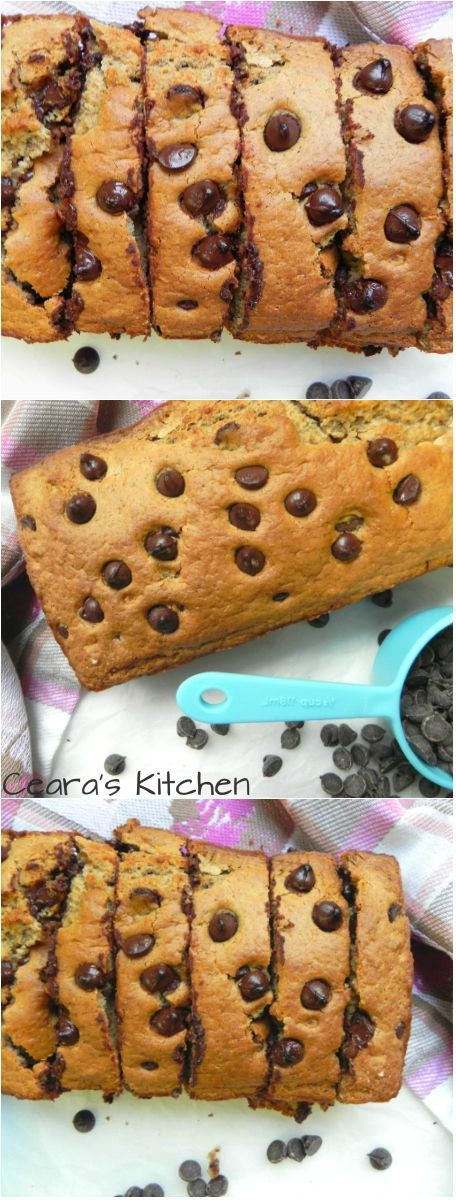 This Chocolate Chip Quick bread is soft, ooey-gooey + full of melty chocolate chips. It tastes AMAZING warm slathered in almond butter. It is 100% oil free, refined sugar free, made with spelt flour + vegan. - Ceara's Kitchen