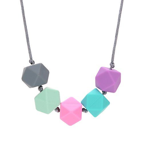 """Silicone Teething Necklace - 4 Color Choices - Baby Safe For Mom To Wear - BPA-Free Chew Beads - Stylish & Natural """"Josie"""" (Grey-Mint-Pink-Turquoise-Purple) RubyRoo Baby"""