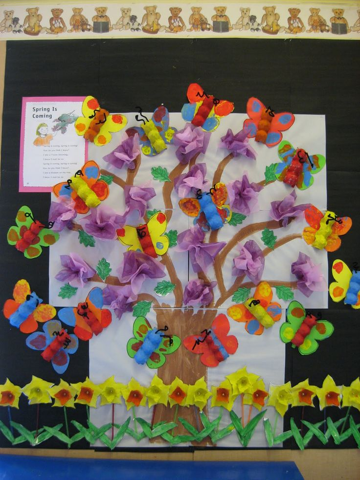Classroom decoration and spring bulletin board idea: colorful 3d spring bulletin board